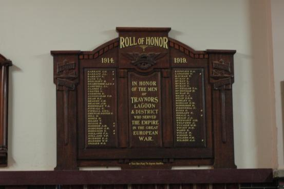 Traynors Lagoon Honour Roll WW1