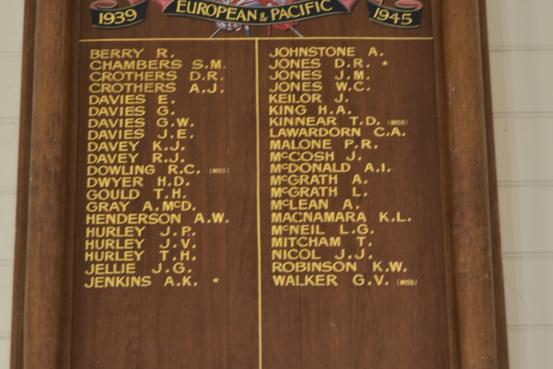 Grassmere Hall Honour Roll (WW2)