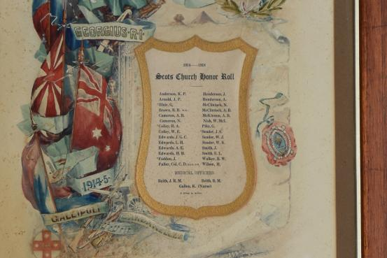 The Scots Church Honour Roll is located inside the Kiama Presbyterian Church