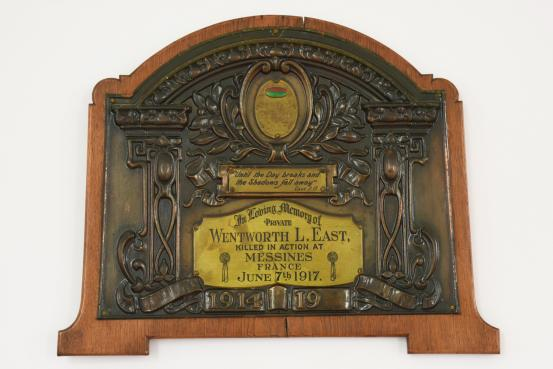 The plaque in the Kiama Uniting Church dedicated to 2066 Private Wentworth Lincoln East, killed in action at the Battle of Messines