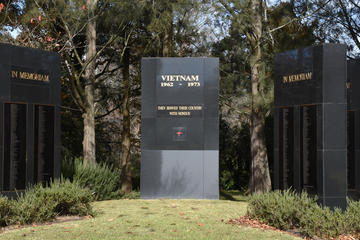 The Memorial monument stands a short distance from the entrance to the walk