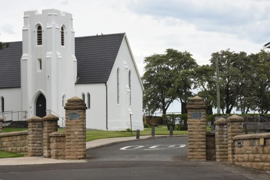 Christ Church Anglican church, with the Memorial Gates in the foreground