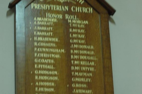 Gre Gre North Presbyterian Church Honour Roll