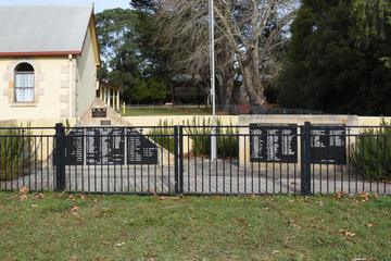 The Memorial comprises two stones bearing polished granite panels with the names of those from Robertson and Kangaloon who served during the First and Second World Wars, the Korean War and the Vietnam War