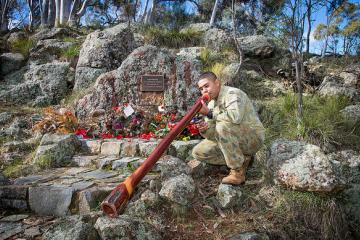 Aircraftman Brodie McIntyre at the Aboriginal Memorial in 2016, AWM2016.8.97.5