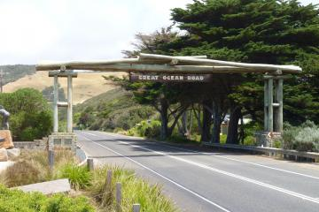 The Memorial Arch, spanning the Great ocean Road. The Road itself was built as a memorial to those that were killed in the war, making it the largest war memorial in the world.