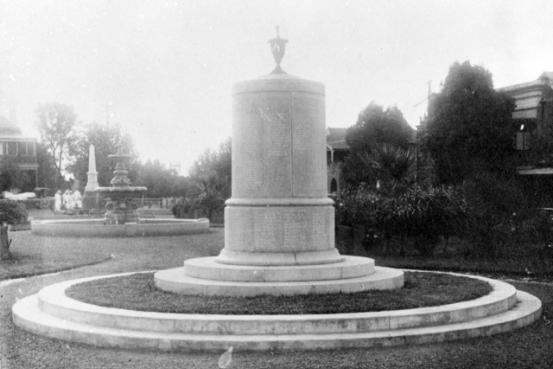 A column memorial with an urn on top with names of First World War servicemen and women