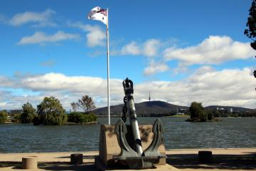 HMAS Canberra Memorial on northern foreshore of Lake Burley Griffin