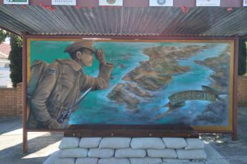 Mural on the front of the bus stop