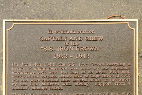 Immediately behind the Memorial wall is a plaque commemorating the loss of the SS 'Iron Crown' and 38 of the crew.