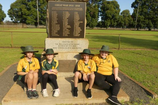 Students from Boyanup Primary visiting the Boyanup War Memorial, Luci, Ashleigh, Max and Joshua