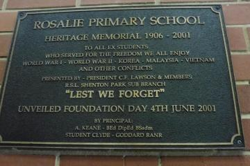Rosalie Primary School Heritage Memorial 1906-2001 plaque