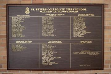 St Peter's Girls' School War Service Honour Board