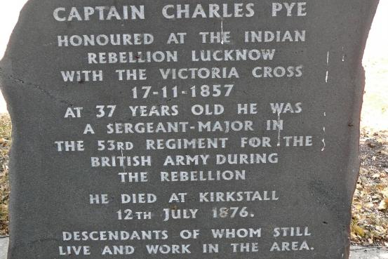 Detail of memorial plaque to Charles Pye VC at Kirkstall