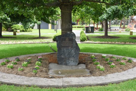 The 'Australia Remembers' stone, within LR Mood Park