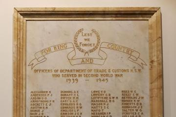 Officers of Department of Trade & Customs NSW World War II Honour Roll