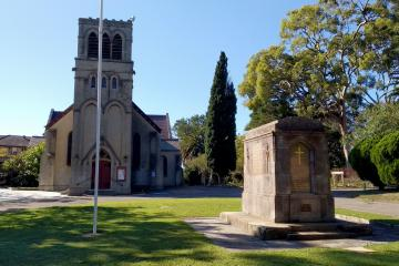 View of cenotaph north and west side, and St Johns church