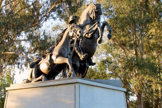 Desert Mounted Corps Memorial located at south western end of Anzac Parade, Canberra