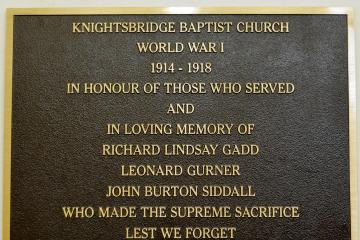 In honour of those from Knightsbridge Baptist Church who lost their lives in WW1