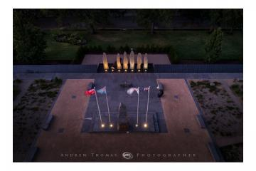 2017-Overhead at Night of the Memorial Forecourt & Catafalque Area