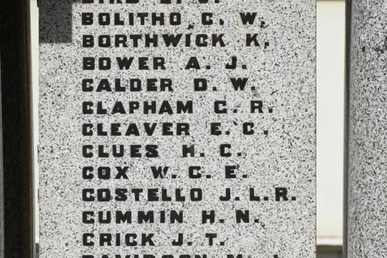 Edward Cleaver's name on the Sale Cenotaph. Although the initials are given as EC, no Cleaver EC is listed on First World War enlistment rolls