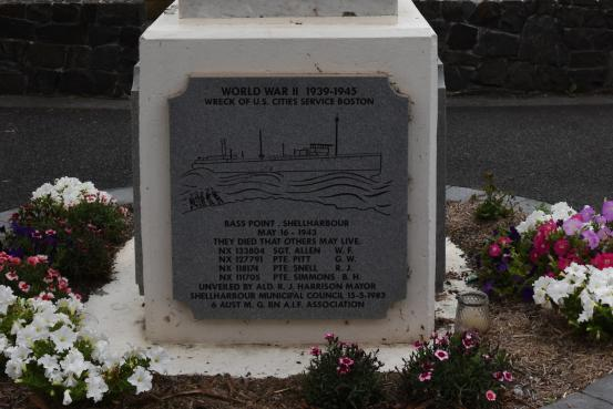 The Memorial panel commemorating four Australian soldiers who drowned during a rescue effort